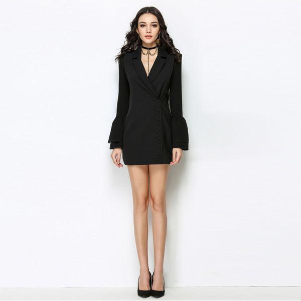 3ce4cf5852b YNZZU 2018 New Spring Women Blazer Dresses Elegant Office Lady Sexy Work  Suit Dress Long Sleeve Slim Female Outwear Dress O494 D18111206