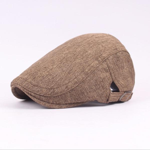 New versatile cotton and linen simple solid color beret autumn men's cap outdoor visor forward cap