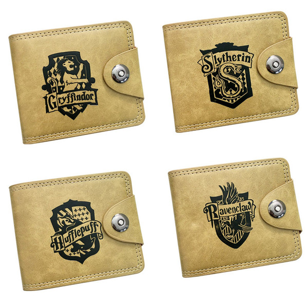 Harry Potter Magic Novel Cosplay Anime Wallet Khaki Color High Quality Leather Coin Purse of Button Style Pocket Money Bag