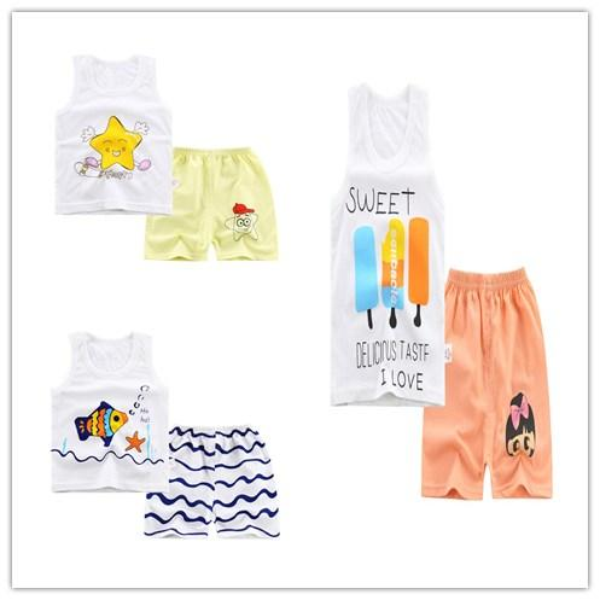summer section Pajamas for boys girls children Cartoon sleeveless Tank+shorts Cotton nightwear suits kids sleepwear clothing