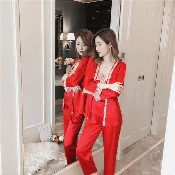 Satin Pajamas set for Women Elegant 3 Pieces Sleepwear Female Sexy Lace All Seasons Silk Pijama suit Coat+Vest+Pants 2018 new