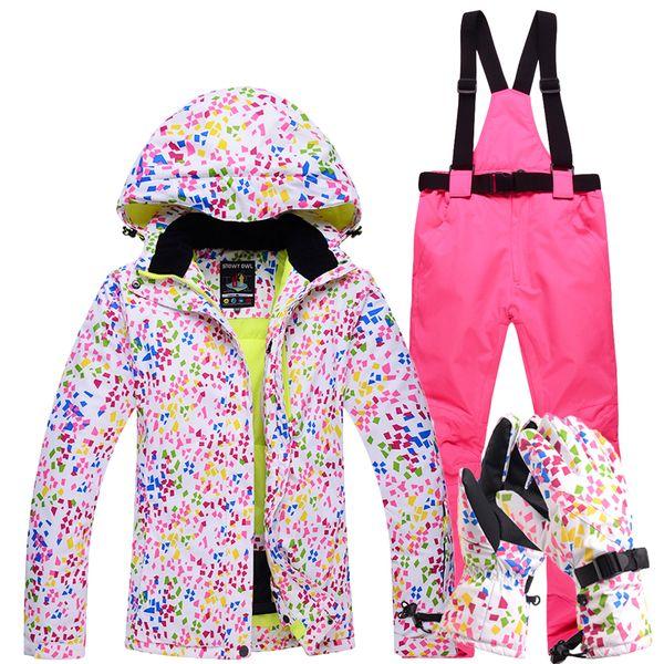 Großhandel 3 STÜCKE Neue Skianzüge Jacken Hosen Frauen Snowboard Sets Weibliche Winter Sportswear Wasserdichte Ski Jacke Set Handschuhe Für Freies Von