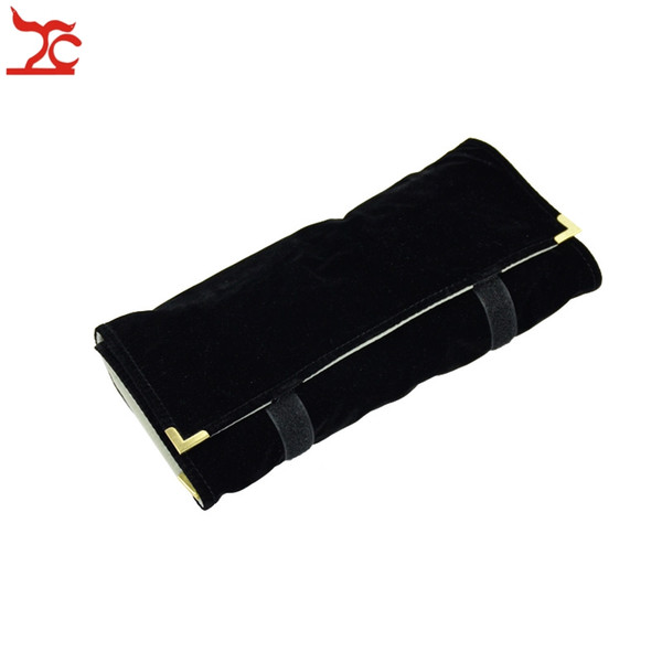 top popular Portable Jewellery Organizer Velvet Necklace Storage Holder Case for Travel Jewelry Roll Bag Pouch Factory Direct-Selling 2021