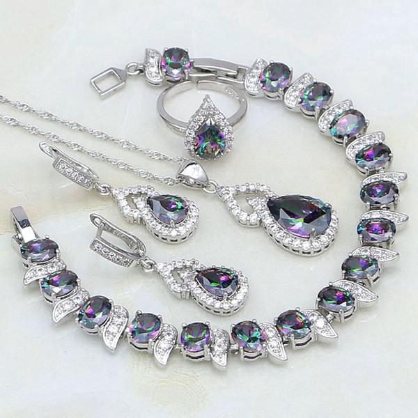 Cabaça Mystic Rainbow Cristal Branco Zircon 925 Conjuntos de Jóias de Prata Para As Mulheres de Casamento Aberto Anel / Colar / Brincos / Pingente / pulseira