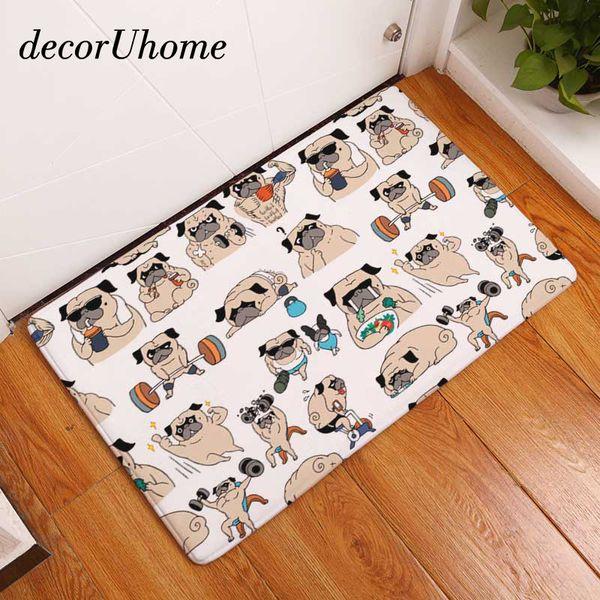 decorUhome Flannel Waterproof Welcome Floor Mat Cute Cartoon Bulldog Carpet Bedroom Rugs Decorative Stair Mats Home Decor Crafts
