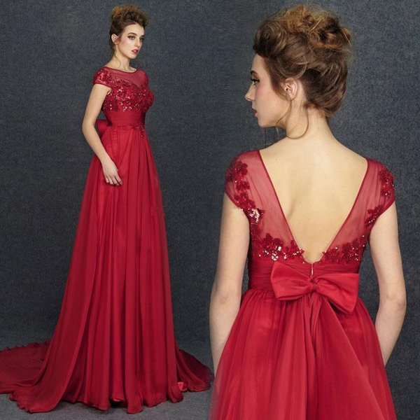 Capped Sheer Neck Applique Prom Dresses with Bow V Backless Chiffon Long Evening Gowns A Line Dress