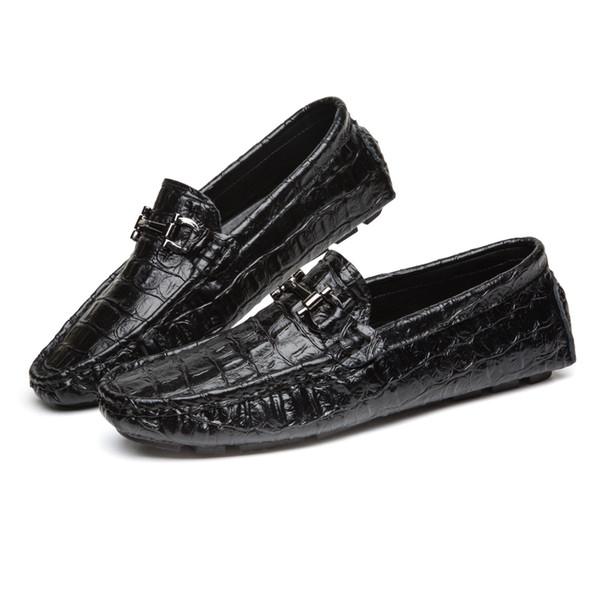 Mocassin-gommino Hommes Véritable Chaussures En Cuir Couleur Unie Crocodile Printemps Et Automne Chaussures Habillées Adultes De Mode Horsebit Mocassins Chaussures de conduite