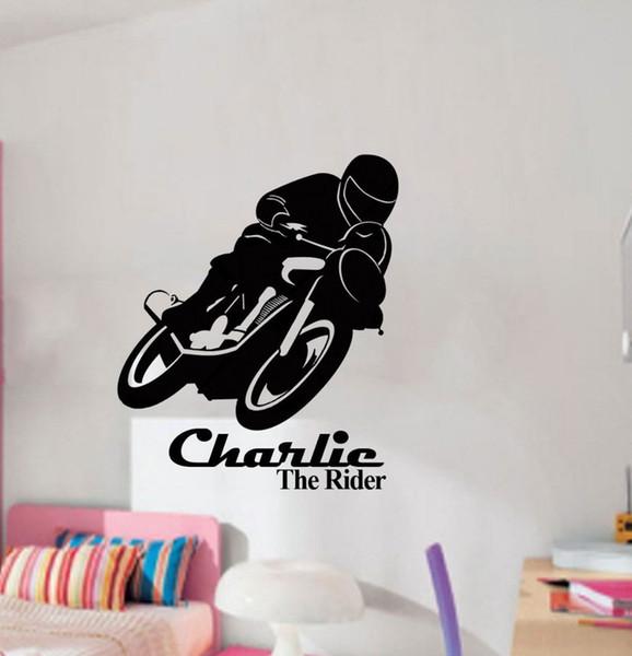 Boy Love Motor Bike Race Personal Name Vinyl Wall Sticker for Living Room Boy Bedroom home Decoration