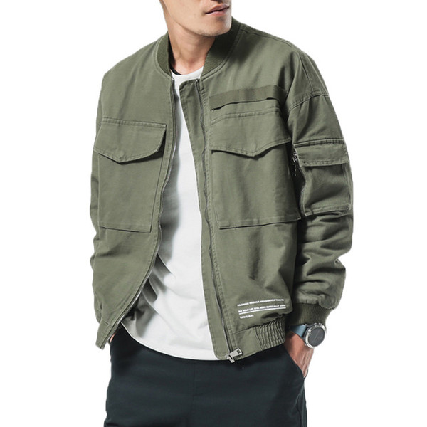 2018 Brand New Spring Men Casual Jacket Coat Men's Washed Pure Cotton Brand-Clothing Army green Bomber Jackets Male cargo Coats
