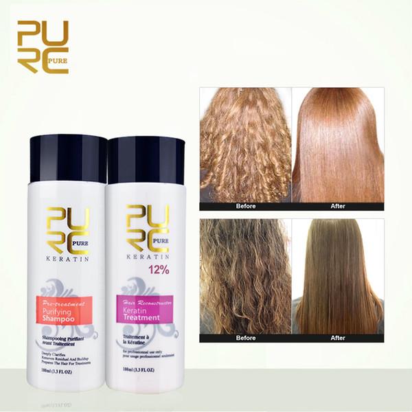 PURC 12% SET formalin keratin hair treatment and purifying shampoo hair care products set 2018 Brazilian keratin