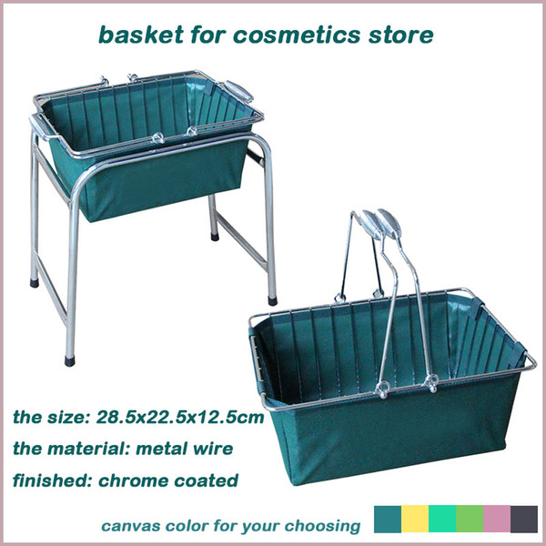 best selling cosmetics shopping basket with oxford bag small fruit bread wire basket with handles wire chrome coated mesh basket with metal handles