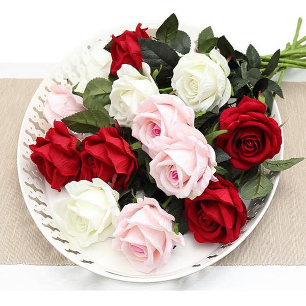 Yapay Gül Çiçek Sahte Çiçekler Buketi Gerçek Dokunmatik Kafaları El Sanatları Ev Dekorasyon Düğün Dekoratif Çiçekler Ev Dekor Için