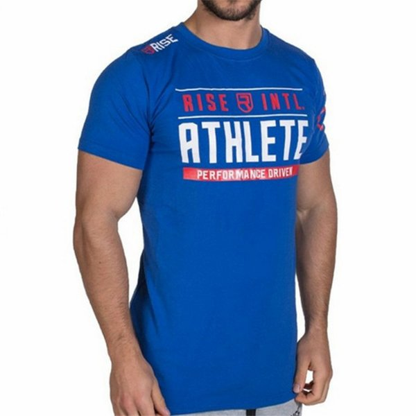 New Mens T Shirt Summer Gyms Fitness Brand T -Shirt Crossfit Bodybuilding Slim Shirts Printed O -Neck Short Sleeves Cotton Tee Tops Clothing