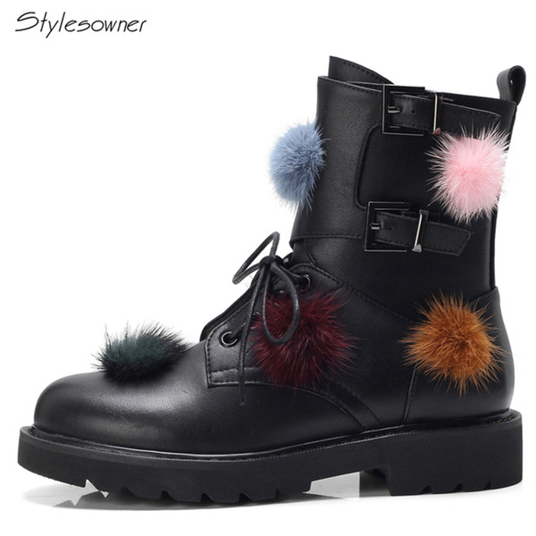 Stylesowner Fashion Brand Design Ankle Boots Fluffy Colorful Hair Balls Shoes Genuine Leather Lace Up Motorcycle Botas BlackShoe