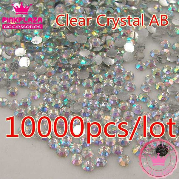 Wholesale 10000pcs/bag 2mm/3mm/4mm/5mm Clear Crystal AB 14 facets Round resin flatback rhinestones DIY phone shoes decorations