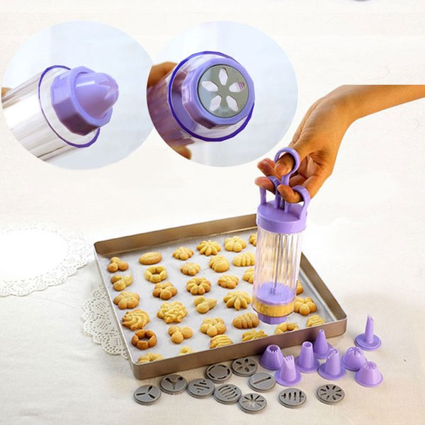 Cookies Modeling Cooking Baking Sugarcraft Mold DIY Creamy Cylinder Nozzles Handle ake Cookie Press Pastry Gun