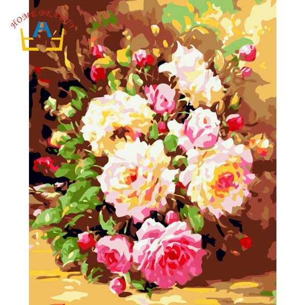 Acheter Peony Photos Par Numéros De Dessin Sur Toile Avec De La Peinture Acrylique Mur Art Fleurs Peintures Pour Le Cadeau De Décoration De Cuisine