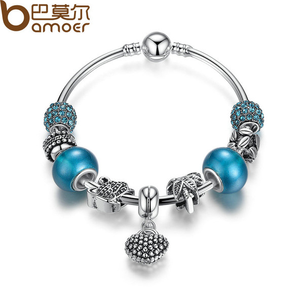 whole saleBAMOER Silver Mother Son Charm Bracelets Heart Pendant Bangle with Blue Crystal  Mother's Day Gift PA3075