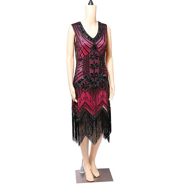 Sans manches Vintage des années 1920 Flapper Great Gatsby Robe Sequins Fringe Party Midi Robe Robe Art Déco Rétro Noir Latin