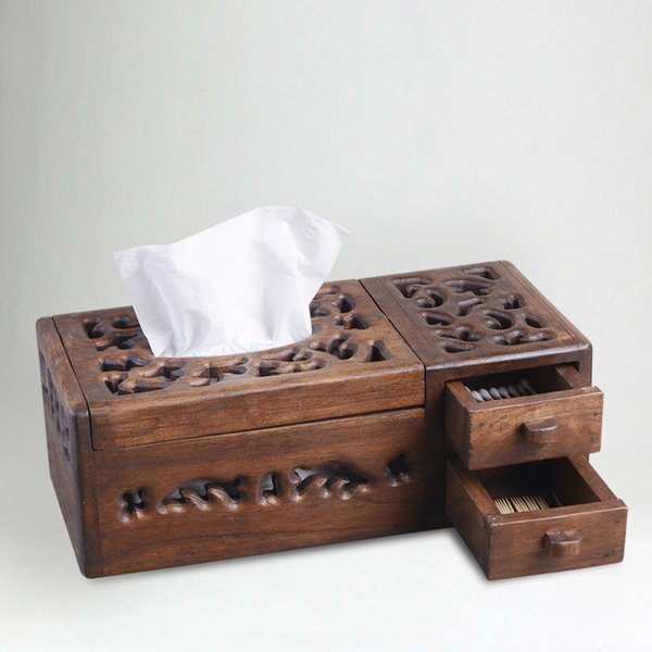 Thai solid wood tissue box living room retro wooden paper box creative multi-function household coffee table storage lo922450