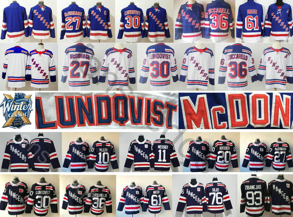 Chandails de hockey des nouveaux Rangers de New York 2018 27 Ryan McDonagh 36 Mats Zuccarello 61 Rick Nash 30 Chandail de la Classique Hiver Henrik Lundqvist
