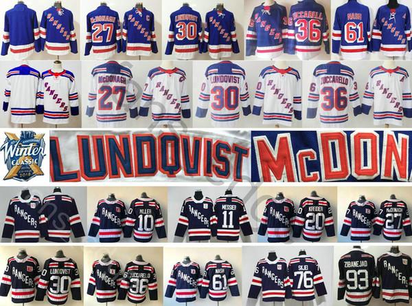2018 New Brand New York Rangers Hockey Jerseys 27 Ryan McDonagh 36 Mats Zuccarello 61 Rick Nash 30 Henrik Lundqvist Winter Classic Jersey