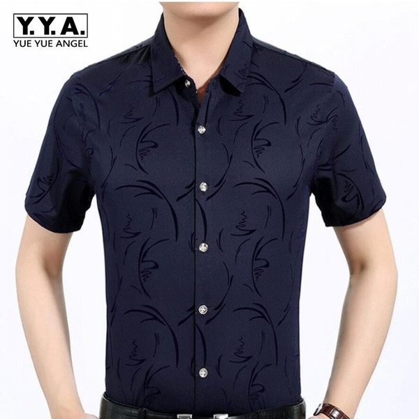 Summer Mens Silk Shirts Slim Fit Gentlemen Classic Short Sleeved Homme Tops Single Breasted Printed Dress Shirts Free Shipping