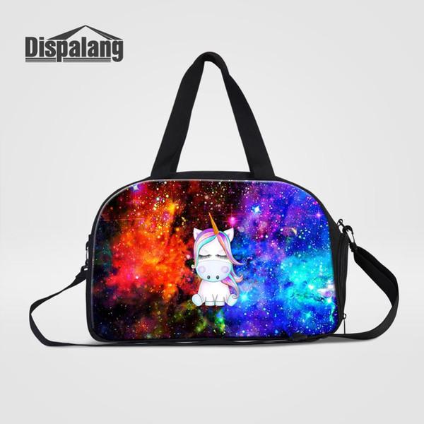 Women Hand Luggage Travel Duffle Bags With Shoes Pocket Unicorn Animal Printing Weekender Handbags Men Clothes Organizer Duffel
