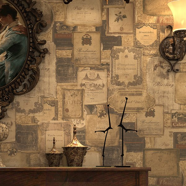 Paysota American Style Wallpaper Vintage English Icons And Wine Standard Dining Room Wall Paper Roll Free 3d Wallpapers Free Animated Desktop