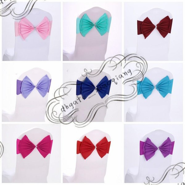 Elastic Organza Chair Covers Sashes Band Wedding Bow Tie Backs Props Bowknot Spandex Chairs Sash Buckles Cover Back Hostel Trim Pink 2 8sk