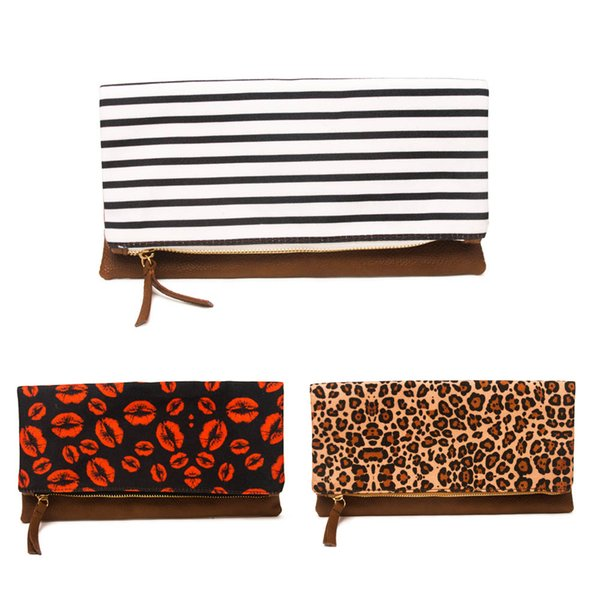 11*5.8inch Red Lips Clutch Bag Wholesale Blanks Foldover Leopard Handbag Stripes Canvas and PU Pouch DOM1082