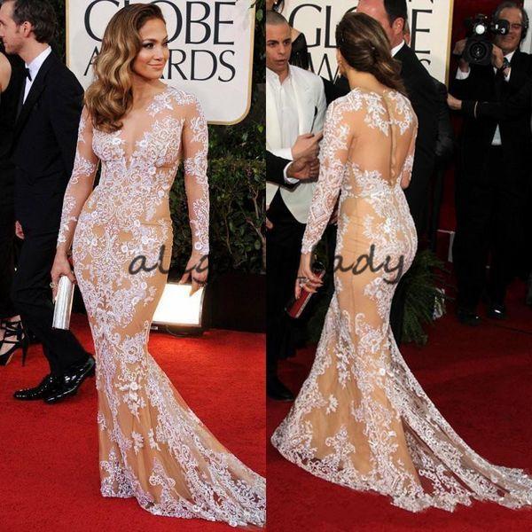 Classic Elegant Oscar Sexy Zuhair Murad Jennifer Lopez Lace Bateau Sheer Mermaid Prom Dresses Long Sleeve Evening Gowns Celebrity Dresses