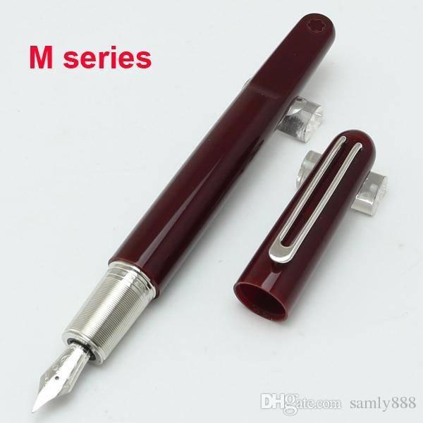 Unique design metal resin M nib classic Burgundy red Fountain pen school office stationery hot sell Magnetic closing cap gift ink pen