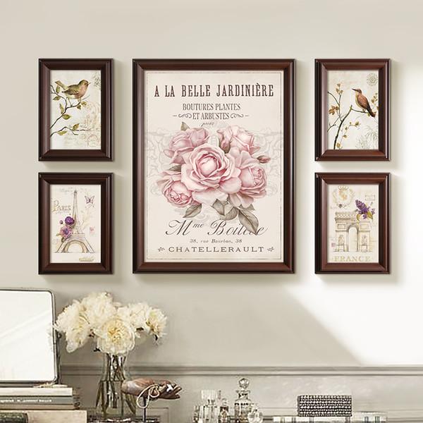 5pcs/set Flower Bud Printing Photo Frames Set European Hanging Picture Frame Wall Home Decor Photo Frame porta retrato moldura