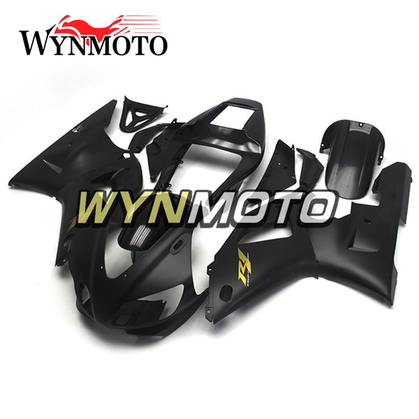Full Cowlings For YZF1000 R1 1998-1999 98 99 Injection ABS Plastics Hull Covers Motorbike Yamaha R1 Frames Black Matte with Gold Decals Hull