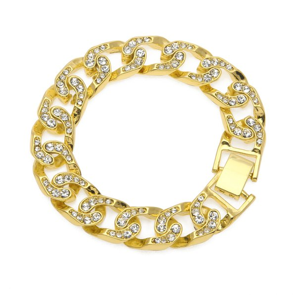 Cuban Link 1.5*21cm Gold Silver Zicron Iced Out Chain Hip Hop Jewelry Designer Bracelet Mens Stainless Steel Jewelry Bangles Bracciali