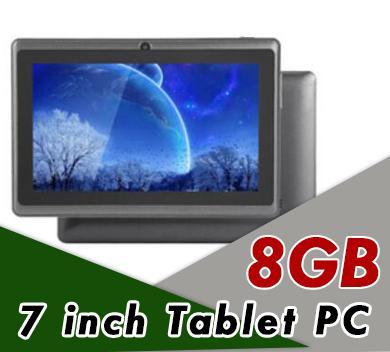 7 inç Kapasitif Allwinner A33 Dört Çekirdekli Android 4.4 çift kamera Tablet PC 8G