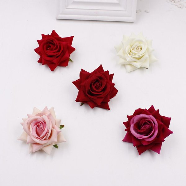 Wholesale-Cheap 10pcs / lot (6cm / flower) Artificial Silk Velvet Rose Home Flower Flower, DIY Wedding Brooch Gift Box