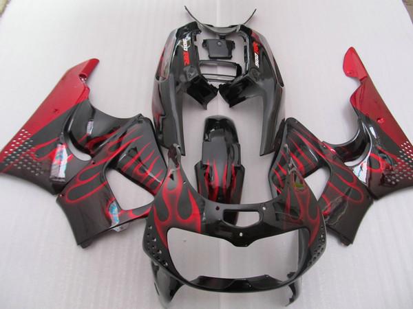 Hot sale fairings for Honda CBR900RR CBR 893 1996 1997red flames in black fairing kit CBR893 96 97 CV22