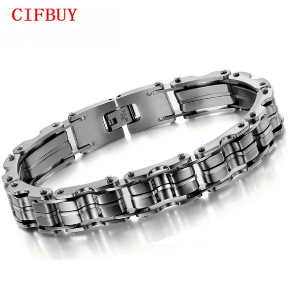 CIFBUY JEWELRY STAINLESS STEEL BRACELET Men Bracelet Silver color 23CM Men gift 629