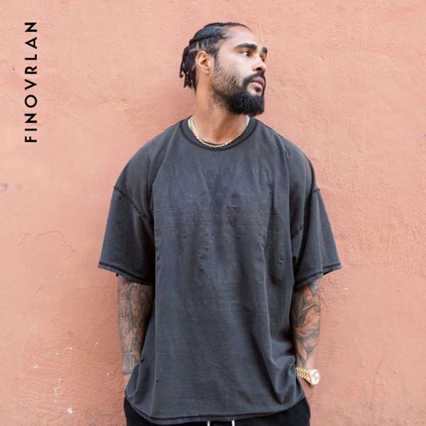 KANYE Vintage Black Oversized T-Shirt Men hip hop Fear Of God Heavy Washed T Shirts For Men O Neck Top Tees Male Short Sleeve