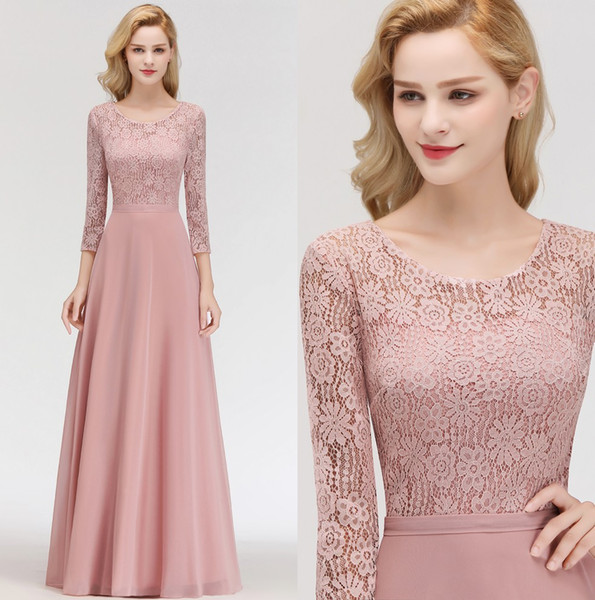 2e02f58eef1be 2019 Elegant Long Sleeves Chiffon Bridesmaid Dresses Lace Top Ruched Floor  Length Mother Of The Bride