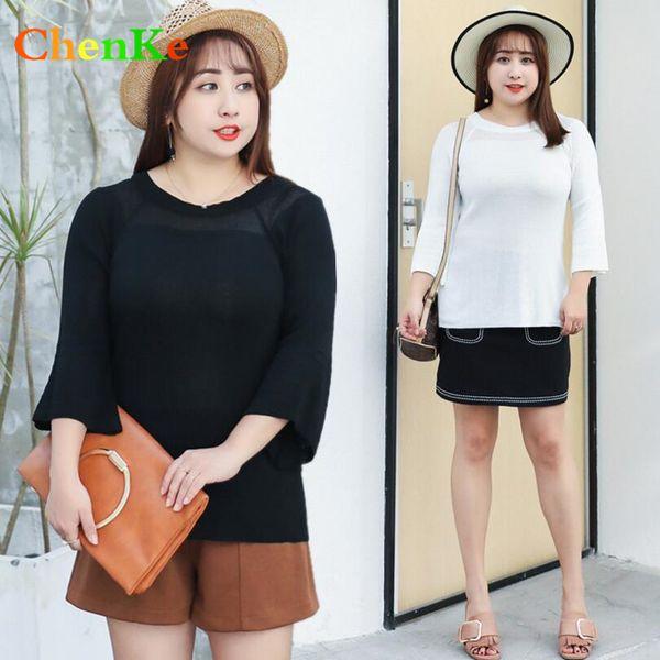 ChenKe 2018 Version Coréenne Printemps Eté Nouveau Casual Thin Swepper ElePlus Taille Femmes Tricot Doux Tempérament Fat Marque Tops