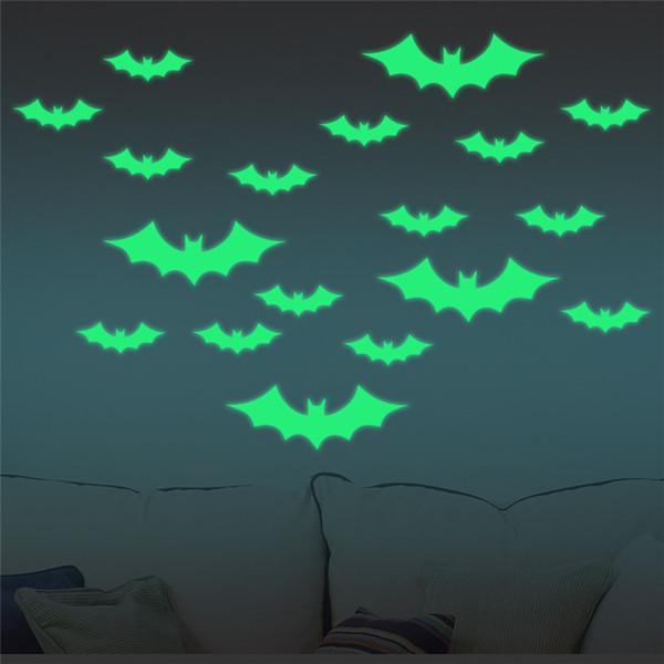 Vinyl Decals Hot Sale 24pcs/ set Luminous Wall Stickers Halloween Creative DIY Bats Decor Decals Kids Children Home Room Cartoon Decoration