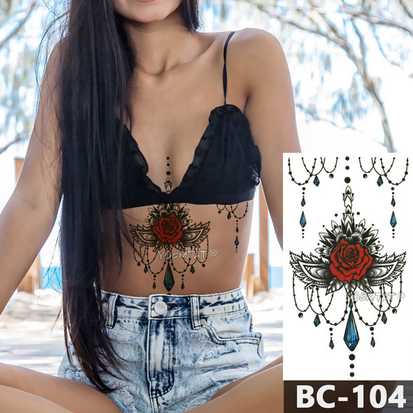 1 Sheet Chest Body Tattoo Temporary Waterproof Jewelry Rose lace crystal pattern Decal Waist Art Tattoo Sticker for Women