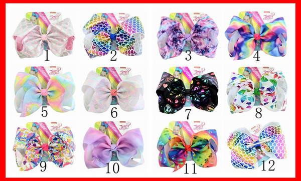 12 Renkler Bebek Kız JOJO Scrawl Saç Yay 8 INÇ Whorl Baskılı Kızlar Gökkuşağı Firkete Tokalarım Saç Aksesuarları Çocuklar Renkli Şapkalar H28