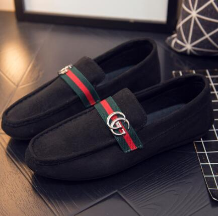 2018 New style Luxury Soft Leather men women leisure dress shoe part doug shoes Metal Buckle Slip-on Famous brand man lazy falts Loafers