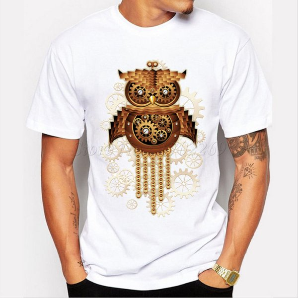 New arrival steam punk style owl printed men's casual t shirt male retro design Cheap Crew Neck Men'S Top Tee Sleeve Harajuku Tops