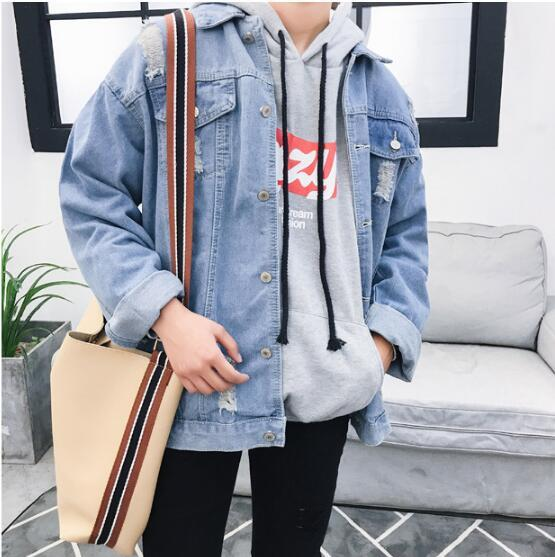 Men Denim Jacket Joker Casual Loose Tunic Jacket Solid Color Washing Personality Hole Denim Jacket Korean Version 2018 Plus Size for Men