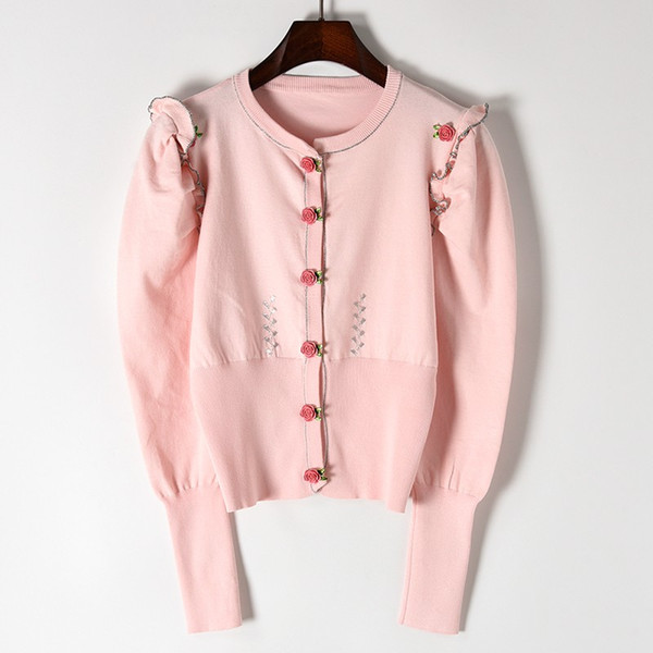 New Sweaters sleeve silver black fungus stereo rose clasp knitted cardigan Cultivate morality round collar coat female